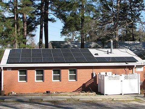 Solar array on the roof of the fellowship hall at CUCC
