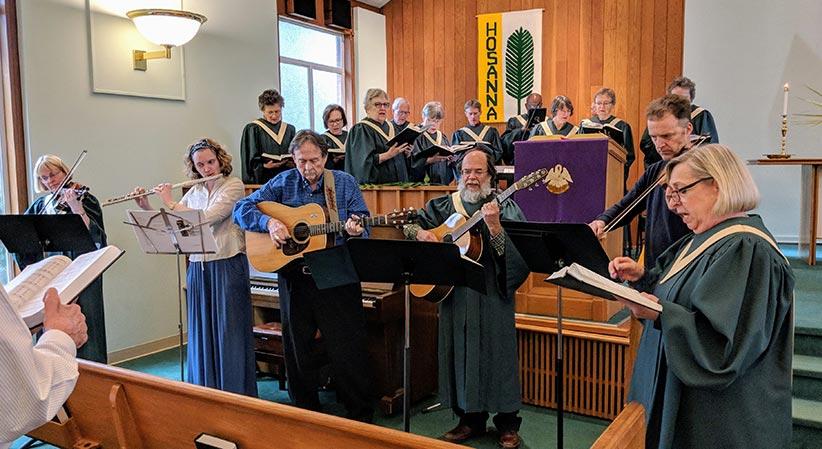 CUCC Band accompanies the Chancel choir at worship