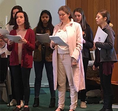 Youth choir sings at worship
