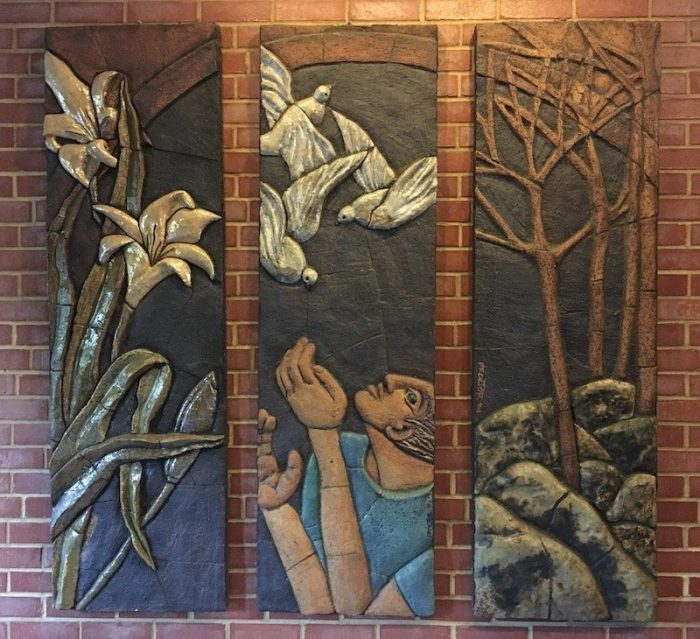 Narthex triptych of lilies, birds, and rocky ground with a seeker