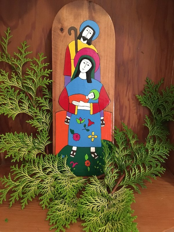 Nicaragua wooden painting of Joseph, Mary and Jesus