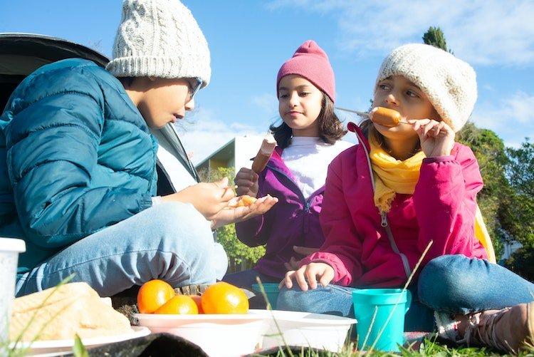 3 children on a picnic