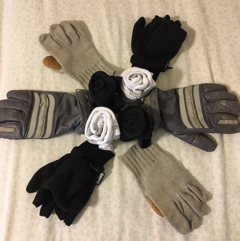 warm socks and gloves