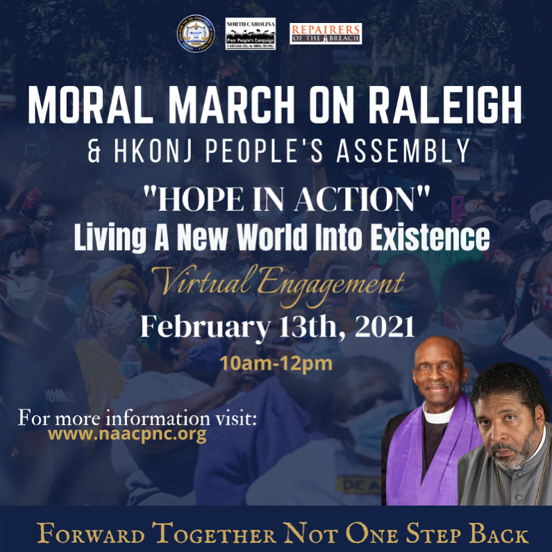 Moral March on Raleigh February 13 poster